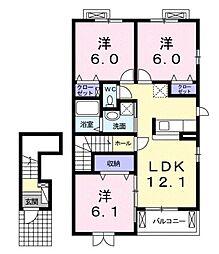 カームB[2階]の間取り