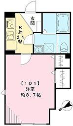 JR京浜東北・根岸線 大井町駅 徒歩9分の賃貸アパート 1階1Kの間取り