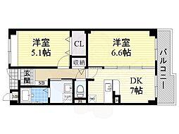 泉北高速鉄道 深井駅 徒歩22分の賃貸マンション 1階2DKの間取り