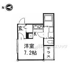 京阪本線 藤森駅 徒歩10分の賃貸アパート 1階ワンルームの間取り