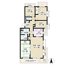 JR東海道本線 大船駅 徒歩13分の賃貸マンション 2階4LDKの間取り