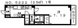 ルミエール駒川[6階]の間取り
