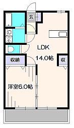 ベルフォーレ石神[1階]の間取り