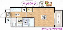 大阪府大阪市中央区東高麗橋の賃貸マンションの間取り