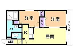 アクアトピア真栄 3階2LDKの間取り