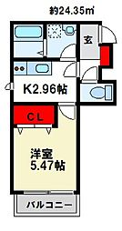 メゾンクレール南福岡 1階1Kの間取り