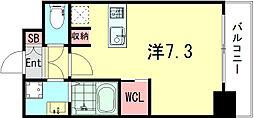 SOAR SINNAGATA 7階1Kの間取り