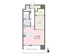 JR鹿児島本線 福間駅 徒歩8分の賃貸マンション 13階1LDKの間取り