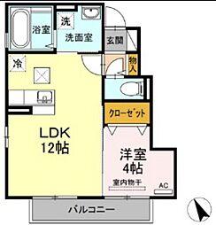 JR山陽本線 西川原駅 徒歩6分の賃貸アパート 1階1LDKの間取り
