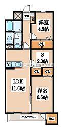 八戸ノ里グランドマンション[1階]の間取り