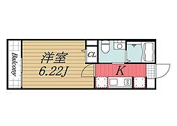 JR総武本線 東千葉駅 徒歩9分の賃貸アパート 2階1Kの間取り