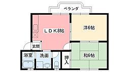 ローズハイム甲子園[B-202号室]の間取り