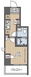 西武新宿線 久米川駅 徒歩2分の賃貸マンション 5階1Kの間取り