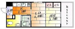 レクセラ西吹田 8階1LDKの間取り
