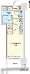 都営浅草線 泉岳寺駅 徒歩14分の賃貸マンション 10階1Kの間取り