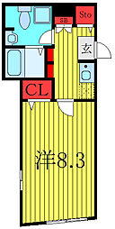 東京メトロ有楽町線 千川駅 徒歩7分の賃貸マンション 2階1Kの間取り