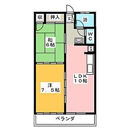 ピースフル石川[3階]の間取り