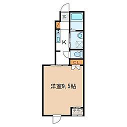 S様アパートII期新築工事 1階1Kの間取り