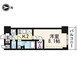 エスプレイス京都RAKUNAN505 5階1Kの間取り