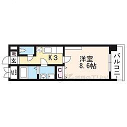 京都市営烏丸線 竹田駅 徒歩9分の賃貸マンション 2階1Kの間取り