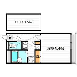 大阪府大東市赤井1丁目の賃貸アパートの間取り