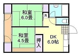富久荘[2-1号室]の間取り