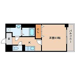 近鉄大阪線 大和八木駅 徒歩6分の賃貸マンション 1階1Kの間取り