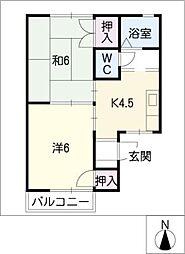 ハイツ花菱[2階]の間取り