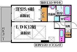 ノルデンタワー新大阪プレミアム 20階1LDKの間取り