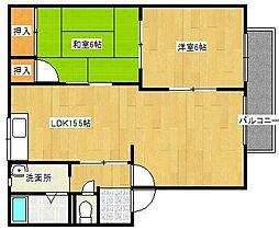 福岡県大野城市中3丁目の賃貸アパートの間取り