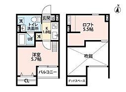 南海高野線 狭山駅 徒歩19分の賃貸アパート 2階1Kの間取り