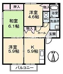 岡山県倉敷市田ノ上丁目なしの賃貸アパートの間取り