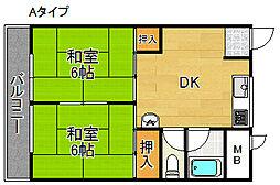帝塚山スカイマンション[2階]の間取り