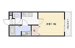 Osaka Metro谷町線 長原駅 徒歩8分の賃貸アパート 1階1Kの間取り