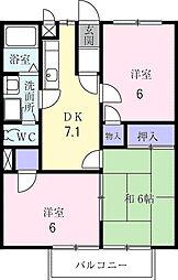 カームハイツ[1階]の間取り