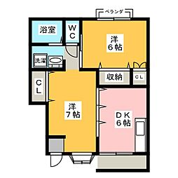 フローラルガーデン B棟[1階]の間取り