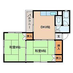 奈良県橿原市木原町の賃貸マンションの間取り