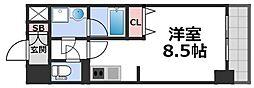 グランデュール大今里西II 7階1Kの間取り