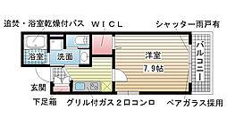 兵庫県神戸市兵庫区荒田町3丁目の賃貸アパートの間取り
