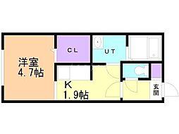 仮)豊平8-8MS 2階1Kの間取り