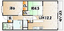 福岡県北九州市八幡西区南王子町の賃貸マンションの間取り