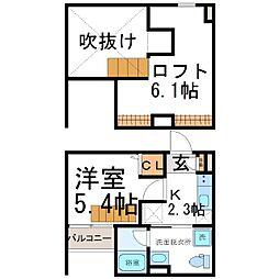 兵庫県尼崎市瓦宮1丁目の賃貸アパートの間取り