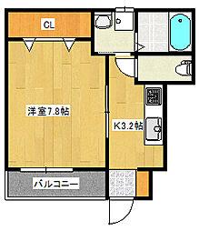 (仮称)南観音町新築アパート 1階1Kの間取り