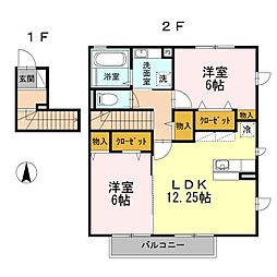 東京都八王子市大和田町5丁目の賃貸アパートの間取り