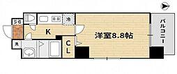 JR山陽本線 岡山駅 徒歩17分の賃貸マンション 9階1Kの間取り