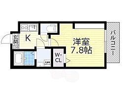 JR阪和線 鳳駅 徒歩15分の賃貸マンション 3階1Kの間取り
