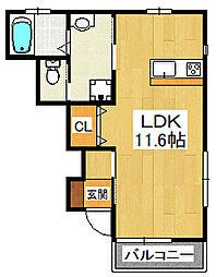 イースト229 1階ワンルームの間取り