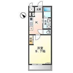 JR東海道・山陽本線 能登川駅 徒歩8分の賃貸アパート 1階1Kの間取り
