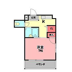 ニューハイツ桜IV 2階1Kの間取り