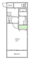近鉄南大阪線 針中野駅 徒歩5分の賃貸アパート 2階1Kの間取り
